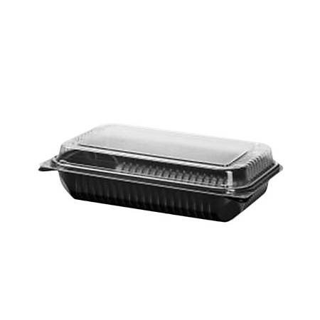 Solo® Creative Carryouts® BoxLine Dinner Hinged Containers, 2 Qt, Black/Clear, Pack Of 100 Containers