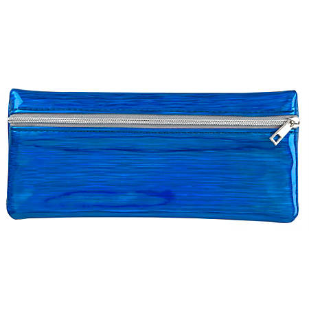 """Office Depot® Brand Holographic Pencil Pouch, 3-1/2"""" x 1/4"""", Blue"""