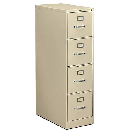 "HON® 310 Series Vertical File, 4 Drawers, 26 1/2"" D, Putty"
