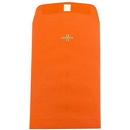 """JAM Paper® Open-End Catalog Envelopes With Clasp Closure, 6"""" x 9"""", 30% Recycled, Orange, Pack Of 10"""