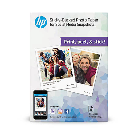 "HP Social Media Snapshots Sticky-Back Photo Paper, 4"" x 5"", White, Pack Of 25 Sheets"