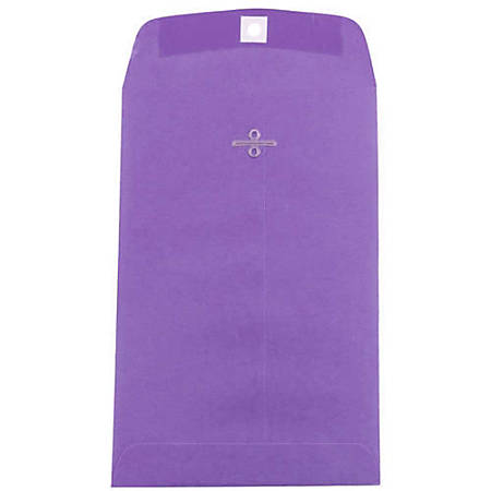 """JAM Paper® Open-End Catalog Envelopes With Clasp Closure, 6"""" x 9"""", 30% Recycled, Violet, Pack Of 10"""