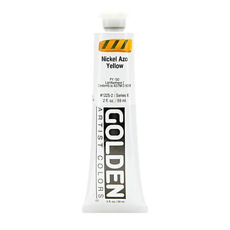 Golden Heavy Body Acrylic Paint, 2 Oz, Nickel Azo Yellow