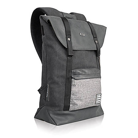 "Solo Momentum Backpack With 15.6"" Laptop Pocket, Front Flap Closure, Black/Gray"