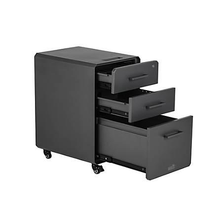Varidesk 15 34 W Lateral 3 Drawer Mobile File Cabinet Metal Gray