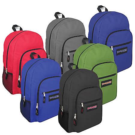 Trailmaker Boys' Deluxe Backpacks, Assorted Colors, Case Of 24 Backpacks