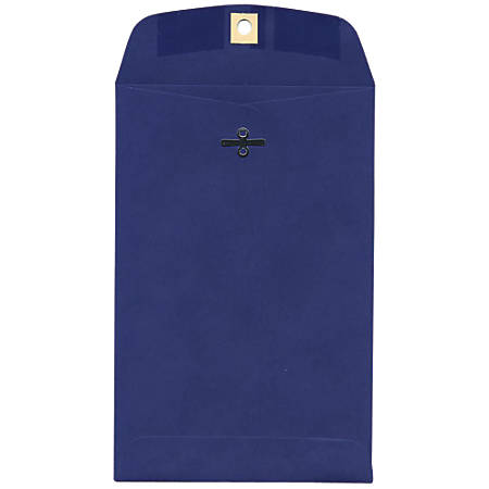 "JAM Paper® Open-End Catalog Envelopes With Clasp Closure, 6"" x 9"", Presidential Blue, Pack Of 10"