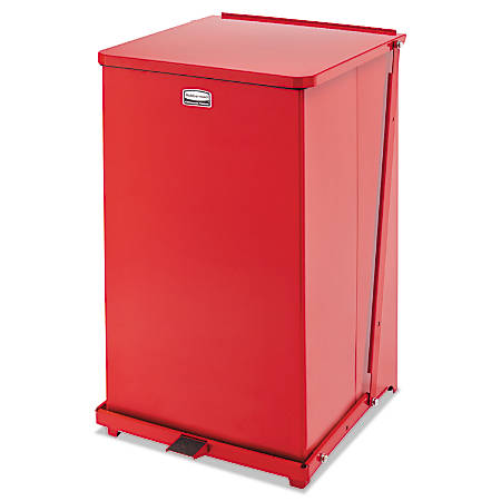 Rubbermaid® Commercial Defenders® Square Steel Step Can, 40 Gallons, Red