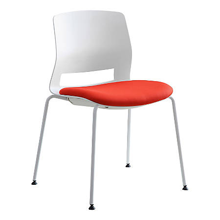 Lorell® Arctic Series Stacking Chairs, White/Red, Set Of 2