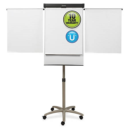 "Quartet® Compass Mobile Presentation Easel, Magnetic Whiteboard/Flipchart, 3' x 2', Graphite Finish Frame - 36"" (3 ft) Width x 24"" (2 ft) Height - White Painted Steel Surface - Graphite Aluminum Frame - Horizontal - 1 Each"