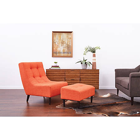 Ave Six Hudson Chair With Ottoman, Tangerine/Espresso