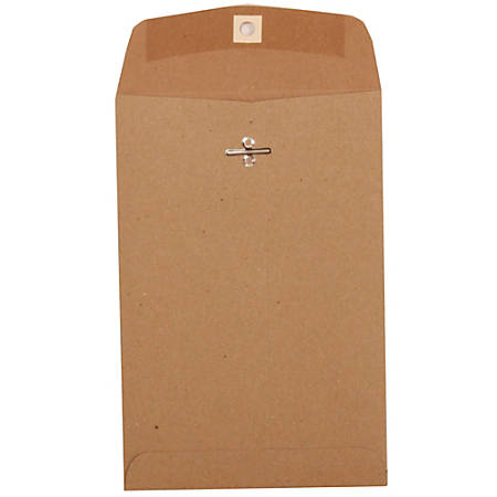 "JAM Paper® Open-End Catalog Envelopes With Clasp Closure, 6"" x 9"", Brown Kraft, Pack Of 10"