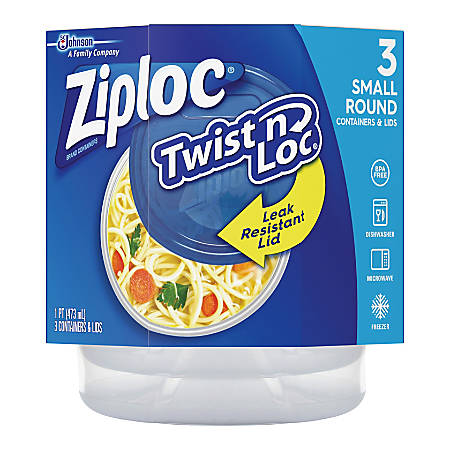 Ziploc® Brand Twist 'n Loc Small Containers - Food Container - Dishwasher Safe - Microwave Safe - Clear - 3 Piece(s) / Pack