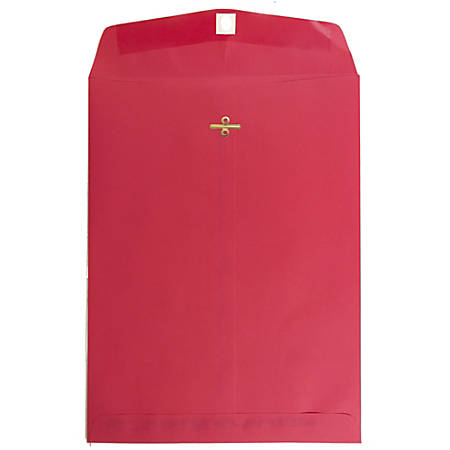 """JAM Paper® Open-End Catalog Envelopes With Clasp Closure, 9"""" x 12"""", 30% Recycled, Red, Pack Of 10"""