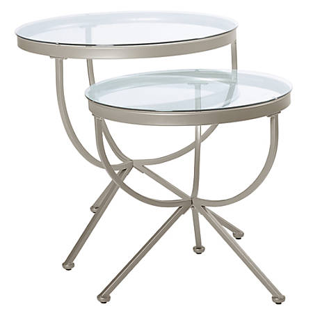 """Monarch Specialties Liv Nesting Tables, 24-1/4""""H x 24""""W x 24""""D, Silver, Set Of 2 Tables"""