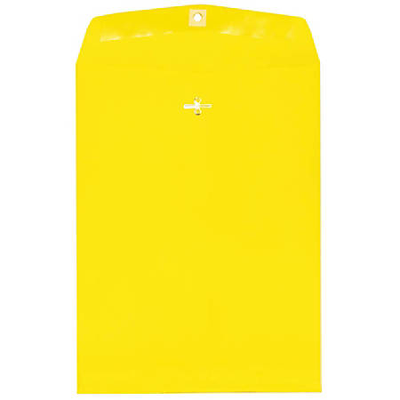 """JAM Paper® Open-End Catalog Envelopes With Clasp Closure, 9"""" x 12"""", 30% Recycled, Yellow, Pack Of 10"""