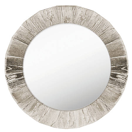 """PTM Images Framed Mirror, Round, 28""""H x 28""""W, Crude"""