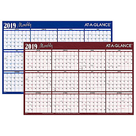 """AT-A-GLANCE® Horizontal Erasable Yearly Wall Calendar, 36"""" x 24"""", January to December 2019"""
