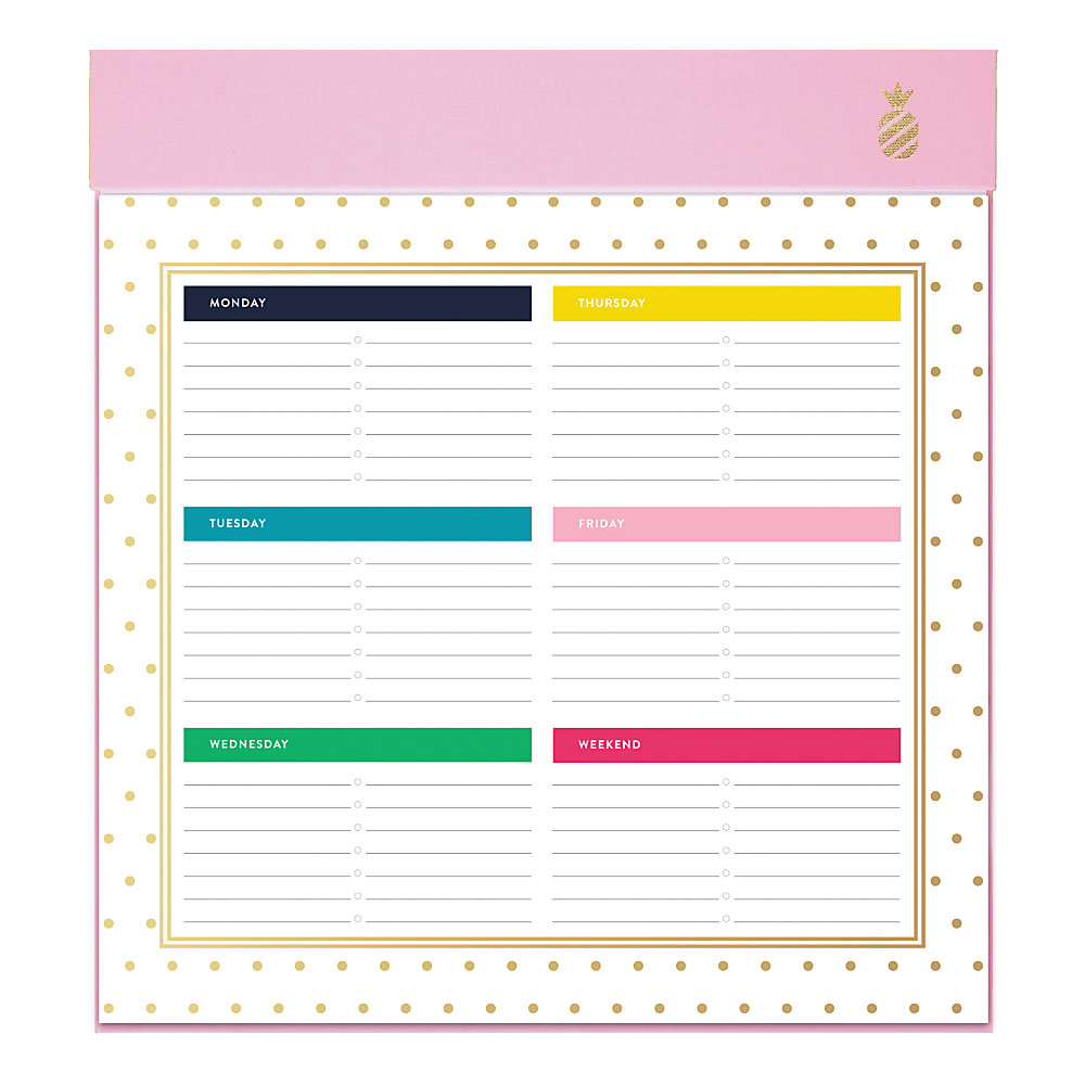 If you want to plan out each week, this helpful pad needs to be on your desk, table or countertop. The planning pad is undated for flexible use, and the pages can be torn out and tossed away when the week is through.  1 week on each page. Ruled planning space for notes and reminders.  Undated for use any time.  Top binding holds the pages in place. Pineapple provides a stylish touch.  Pages can be torn away when the week is done.  Contains 52 total pages.