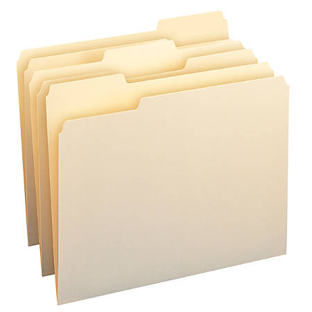 Smead® CutLess® File Folders, Letter Size, 1/3 Cut, 30% Recycled, Manila, Box Of 100