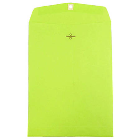 "JAM Paper® Open-End Catalog Envelopes With Clasp Closure, 9"" x 12"", Lime, Pack Of 10"