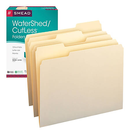 Smead® CutLess® And WaterShed®/CutLess® File Folders, Letter Size, 1/3 Cut, 30% Recycled, Manila, Box Of 100