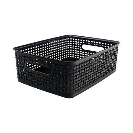 "See Jane Work® Decorative Storage, Medium Woven Bin, 14"" x 10 1/2"" x 4 5/8"", Black"