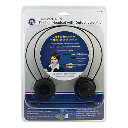 GE Universal All-In-One Headset With Detachable Mic