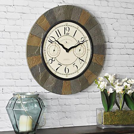 "FirsTime® Slate Garden Wall Clock, 15 1/2"" x 1 1/2"", Slate/Tan"