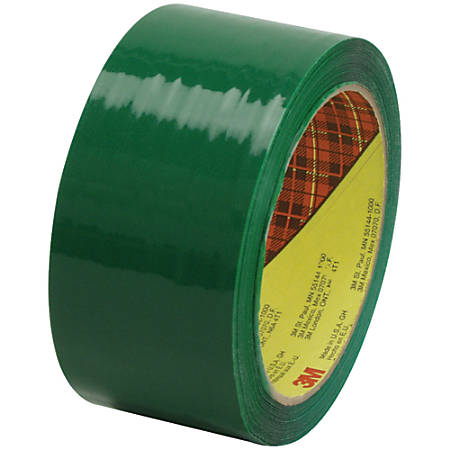"Scotch® 373 Carton-Sealing Tape, 3"" Core, 2"" x 55 Yd., Green, Pack Of 6"