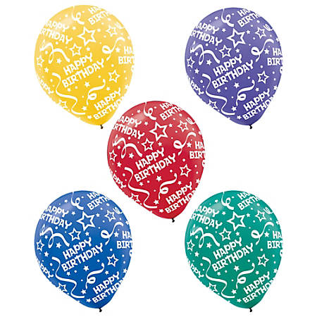 "Amscan Latex Confetti Balloons, 12"", Assorted Bright Birthday Confetti, 20 Balloons Per Pack, Set Of 3 Packs"