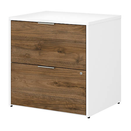 "Bush Business Furniture Jamestown 29-2/3""W Lateral 2-Drawer File Cabinet, Fresh Walnut/White, Standard Delivery"