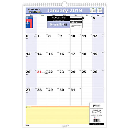 "AT-A-GLANCE® QuickNotes® 13-Month Monthly Wall Calendar, 15 1/2"" x 22 3/4"", January 2019 to January 2020"