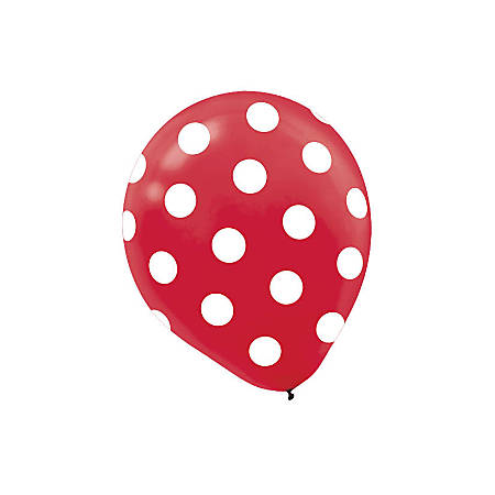 "Amscan Polka-Dot Latex Balloons, 12"", Red, 6 Balloons Per Pack, Set Of 3 Packs"