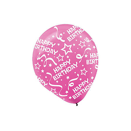 "Amscan Latex Confetti Birthday Balloons, 12"", Bright Pink, 6 Balloons Per Pack, Set Of 3 Packs"