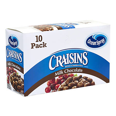 OCEAN SPRAY Craisins Milk Chocolate Dried Cranberries, 2 oz, 10 Count