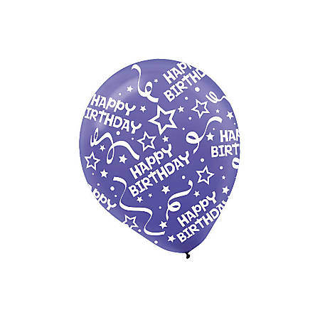 "Amscan Latex Confetti Birthday Balloons, 12"", New Purple, 6 Balloons Per Pack, Set Of 3 Packs"