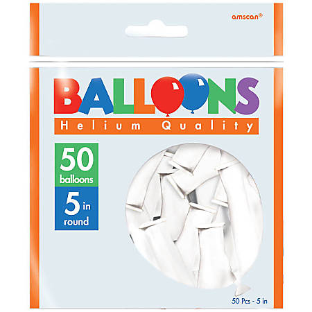 """Amscan Glossy 5"""" Latex Balloons, Frosty White, 50 Balloons Per Pack, Set Of 3 Packs"""