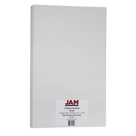 """JAM Paper® Cover Card Stock, 8 1/2"""" x 14"""", 67 Lb, Vellum Bristol Gray, Pack Of 50 Sheets"""
