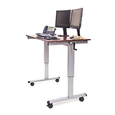 "Luxor Crank 48""W Adjustable Stand Up Desk, Dark Walnut/Silver"