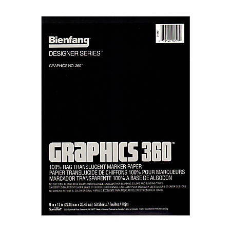 """Bienfang Graphics 360 Translucent Marker Pad, 9"""" x 12"""", White, 50 Sheets"""