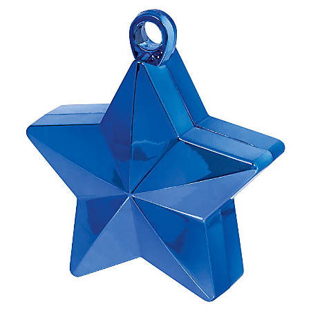 """Amscan Foil Star Balloon Weights, 6 Oz, 4-1/2""""H x 3-1/4""""W x 2""""D, Blue, Pack Of 12 Weights"""