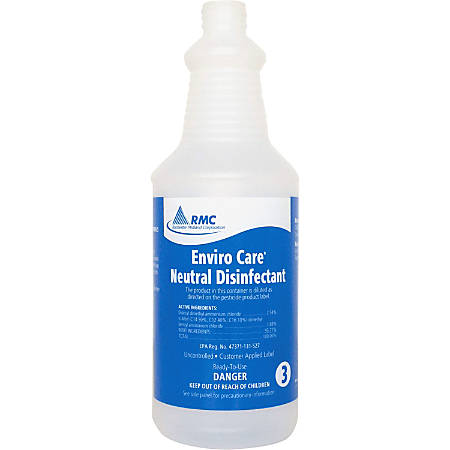 RMC Neutral Disinfectant Spray Bottle - 1 / Each - Frosted Clear - Plastic
