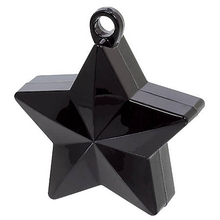 "Amscan Foil Star Balloon Weights, 6 Oz, 4-1/2""H x 3-1/4""W x 2""D, Black, Pack Of 12 Weights"