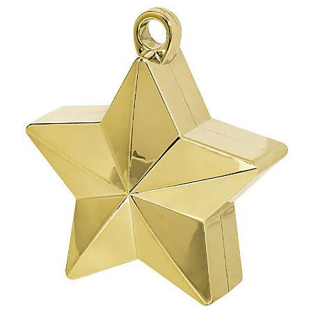 "Amscan Foil Star Balloon Weights, 6 Oz, 4-1/2""H x 3-1/4""W x 2""D, Gold, Pack Of 12 Weights"