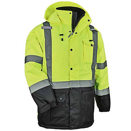 Ergodyne GloWear 8384 Type R Class 3 Polyester Thermal Parka, Medium, Lime