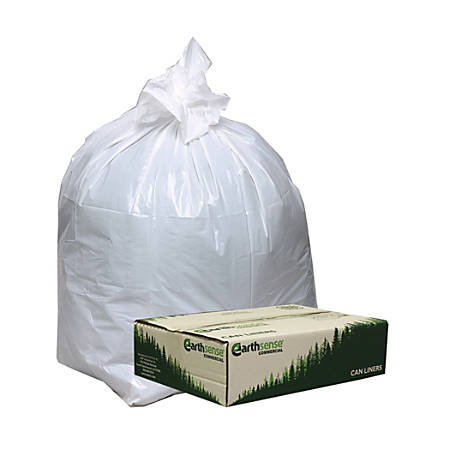 "Webster® EarthSense® 75% Recycled Star bottom Commercial Can Liners, 13 Gallons, 0.70 Mil Thick, 24"" x 31"", White, Box Of 150"