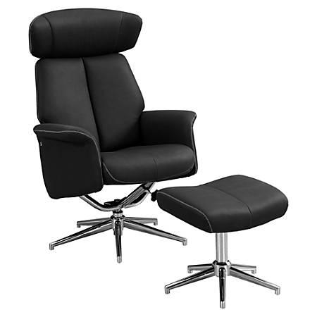 Monarch Specialties Retro Modern Swivel Recliner Chair And Ottoman Set, Black/Chrome