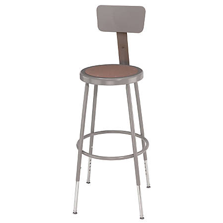 "National Public Seating Adjustable Hardboard Stools With Backs, 38 - 47 1/2""H, Gray, Set Of 4"