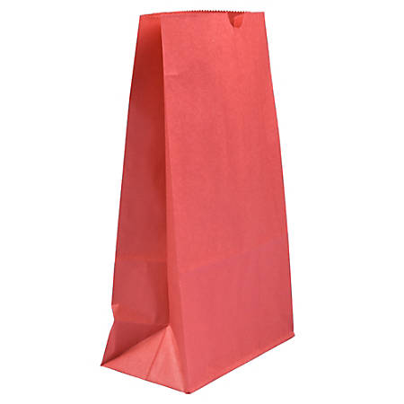 """JAM Paper® Kraft Lunch Bags, Large, 11""""H x 6""""W x 3-3/4""""D, Red, Pack Of 25 Bags"""